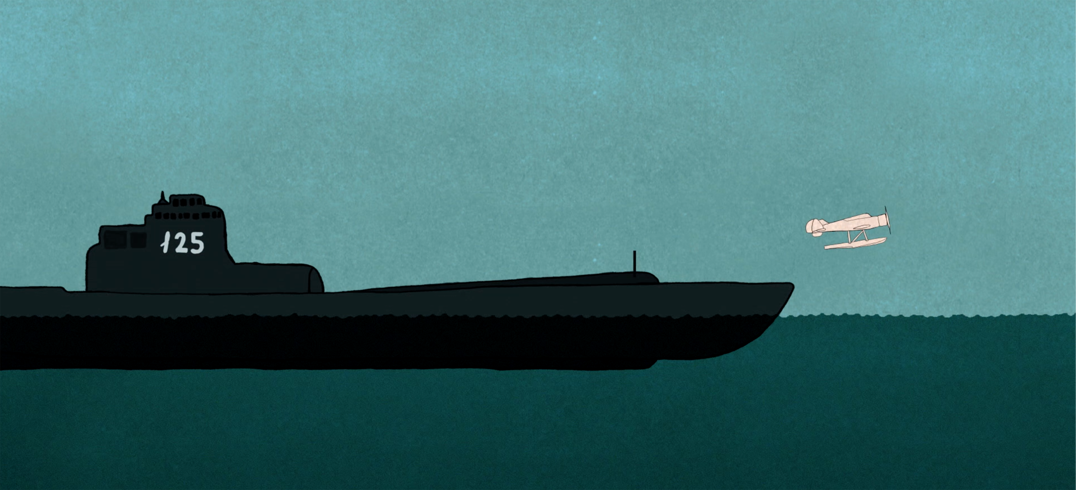 Animated Still:  Plane launch from submarine  (Animation by Zak Margolis)