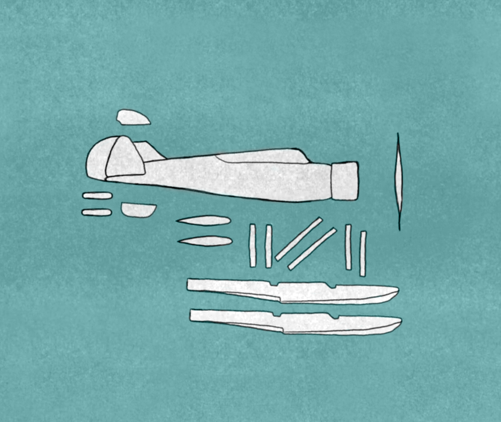 Animated Still:  Disassembled reconnaissance seaplane, which was transported on the I-25 Submarine  (Animation by Zak Margolis)