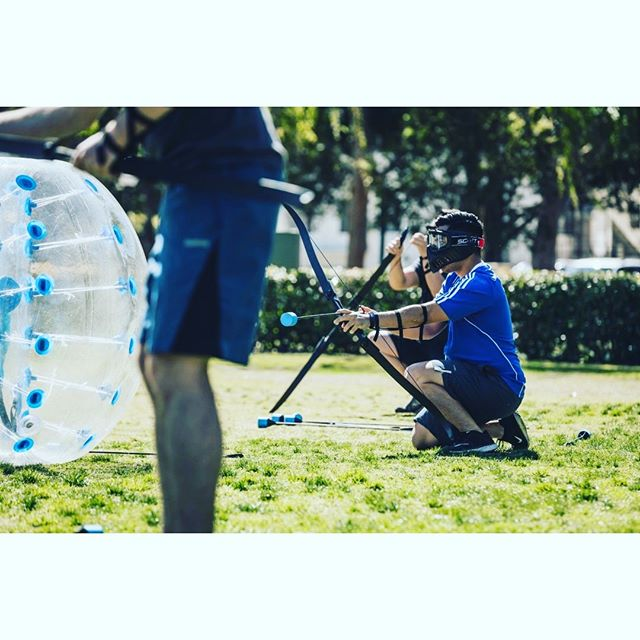 """Cover me! I'm reloading!"" -Archery Tag  #archery #archerytag #teambuilding #teambuildingevents #teambuildingevents"