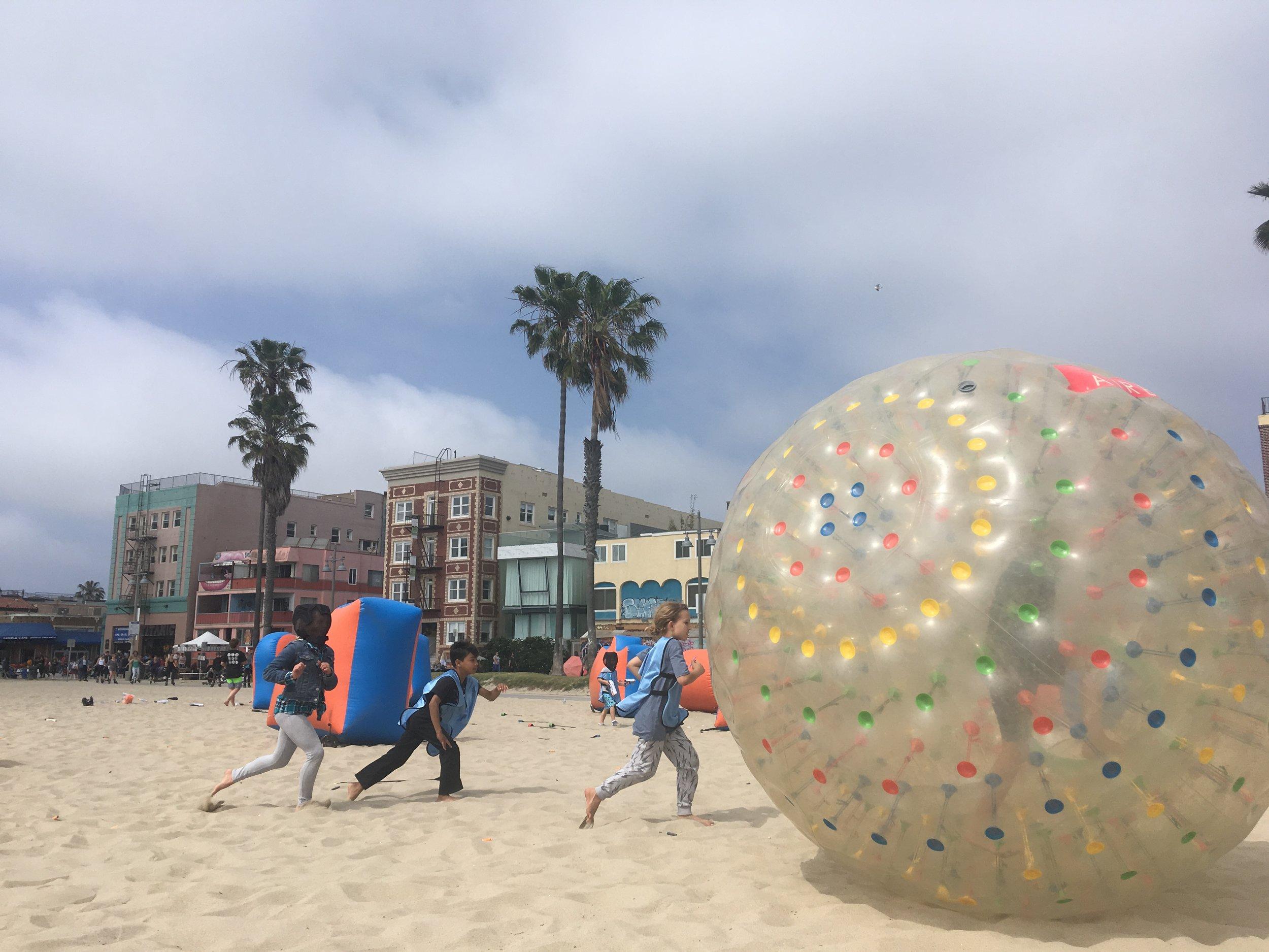 Zorbing at the Beach in Orange County.JPG