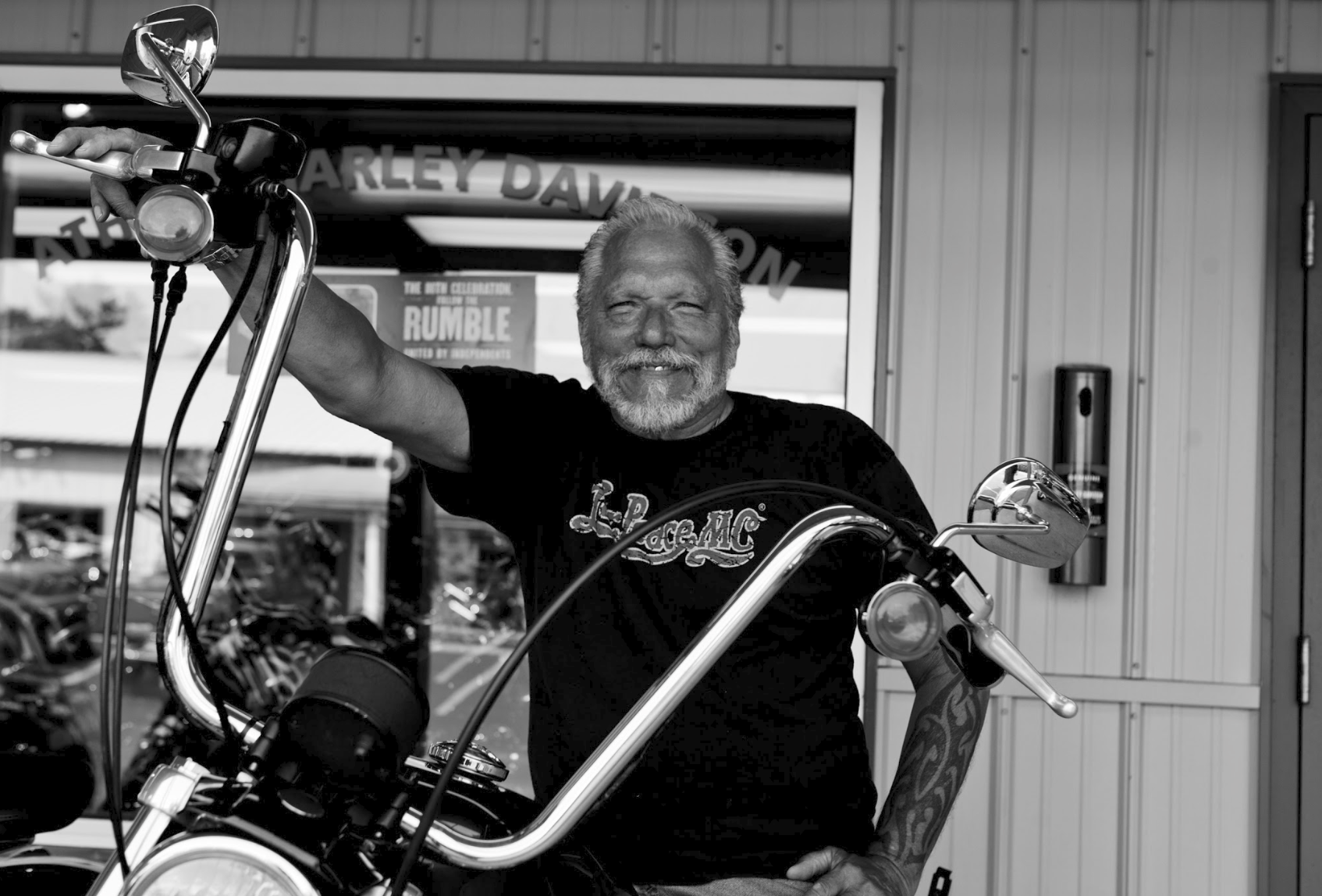 When not at Fur Peace Ranch, Jorma enjoys riding his Harley CBO Breakout, a hobby of his for over 60 years. Photo provided by Scotty Hall.