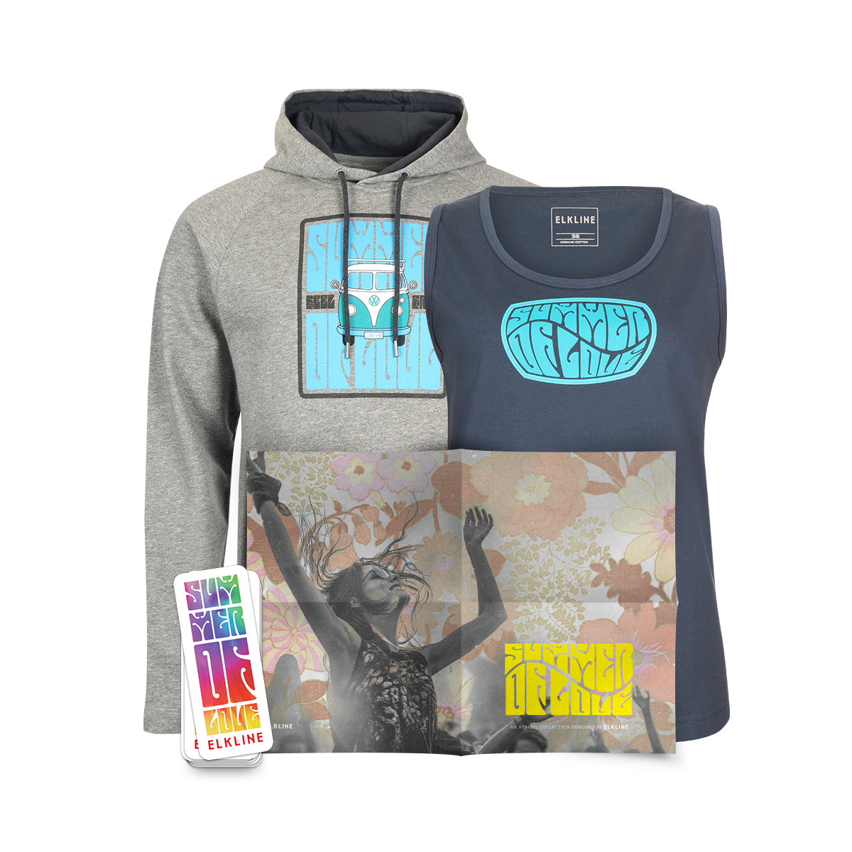 Sign up for the newsletter and be entered into the Summer of Love Raffle!  You can win the ultimate Summer of Love Set including a sweater, T-shirt, poster and sticker!
