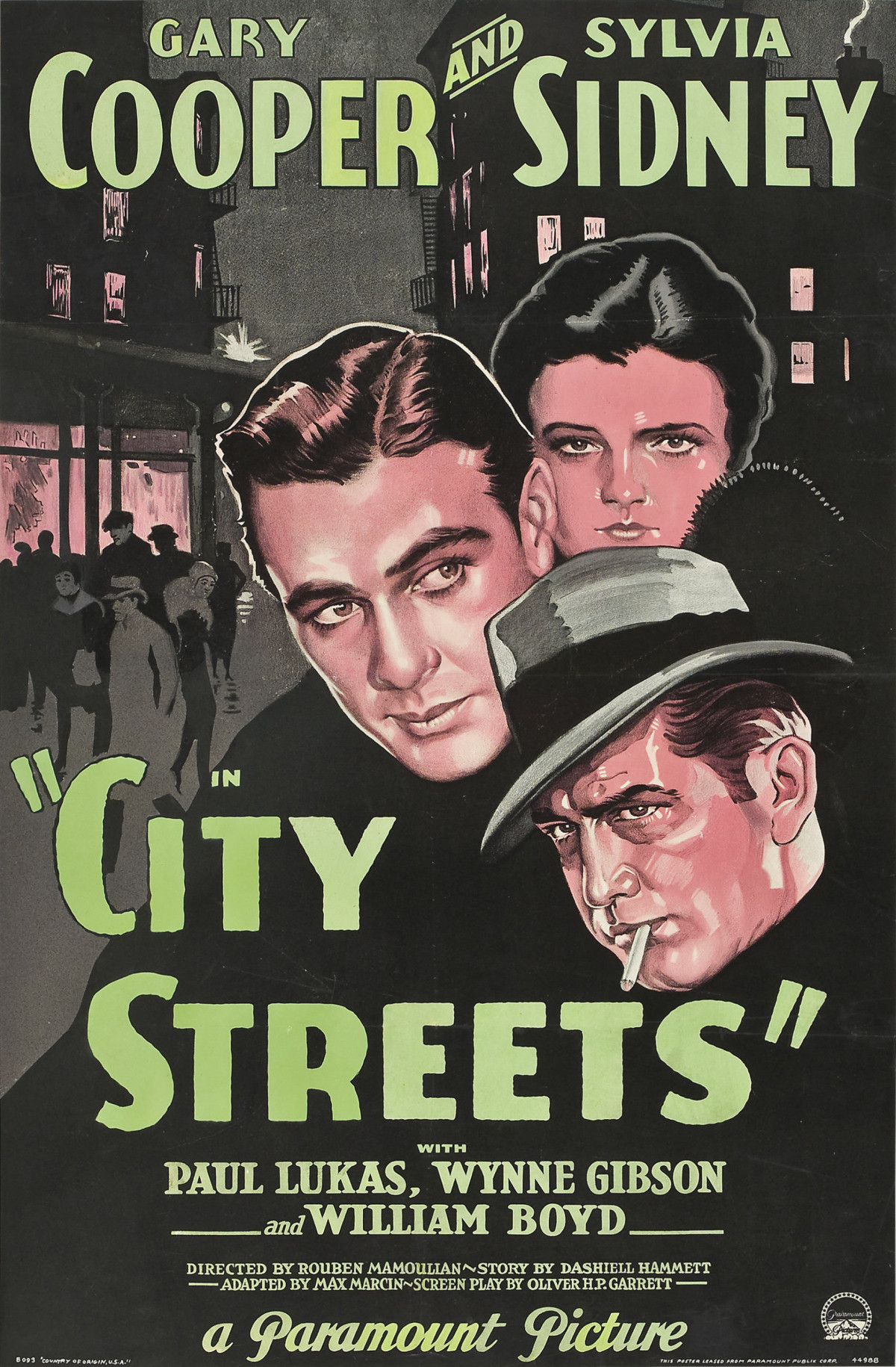 """- Gary Cooper is cast as a racketeer known only as The Kid. He has chosen a life of crime out of love for Nan (Sylvia Sidney), the daughter of mob henchman Pop Cooley (Guy Kibbee). Eventually railroaded into prison by her crooked cohorts, Nan implores The Kid to give up the rackets, but he refuses. Things go downhill very rapidly after that, culminating with The Kid and Nan being taken """"for a ride""""1931 1 h 23 min"""