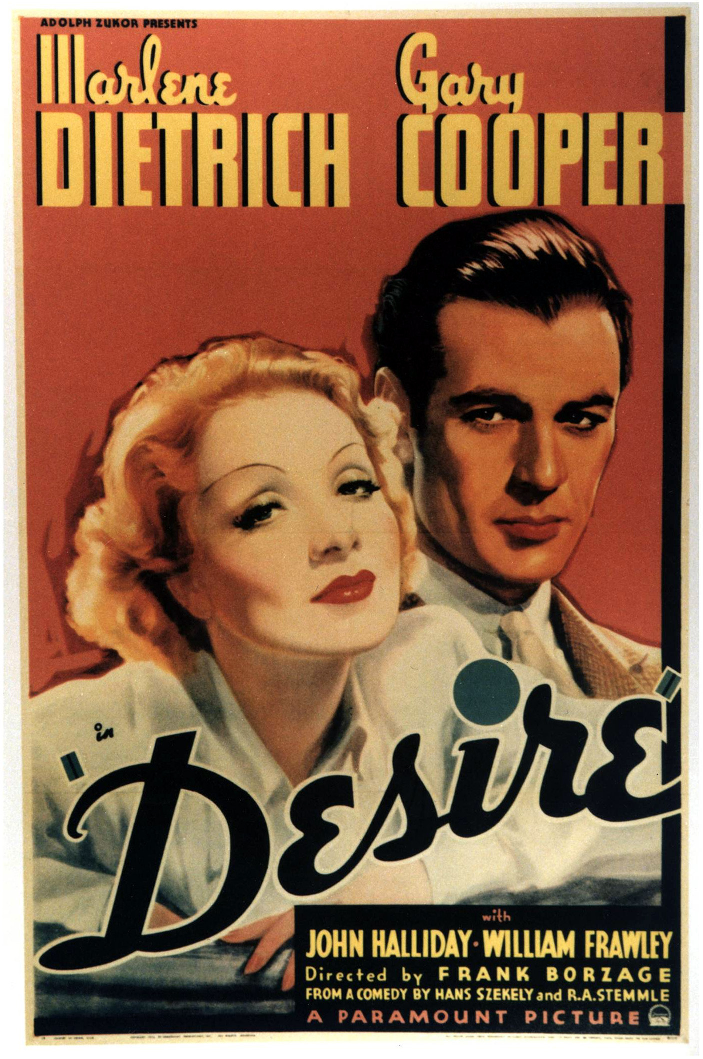 - Madeleine steals a string of pearls in Paris and uses US engineer Tom, who is driving on his vacation to Spain, to get the pearls out of France, but getting the pearls, back from him proves to be difficult without falling in love.Desire (1936) Directed by Frank Borzage. 95mins.Marlene Dietrich - Madeleine de BeaupreGary Cooper - Tom BradleyAlso starring John Halliday, William Frawley, Akim Tamiroff and Alan Mowbray.Romantic drama, a remake of a 1933 German film.Tagline - Love was her precious loot!19361 h 29 min