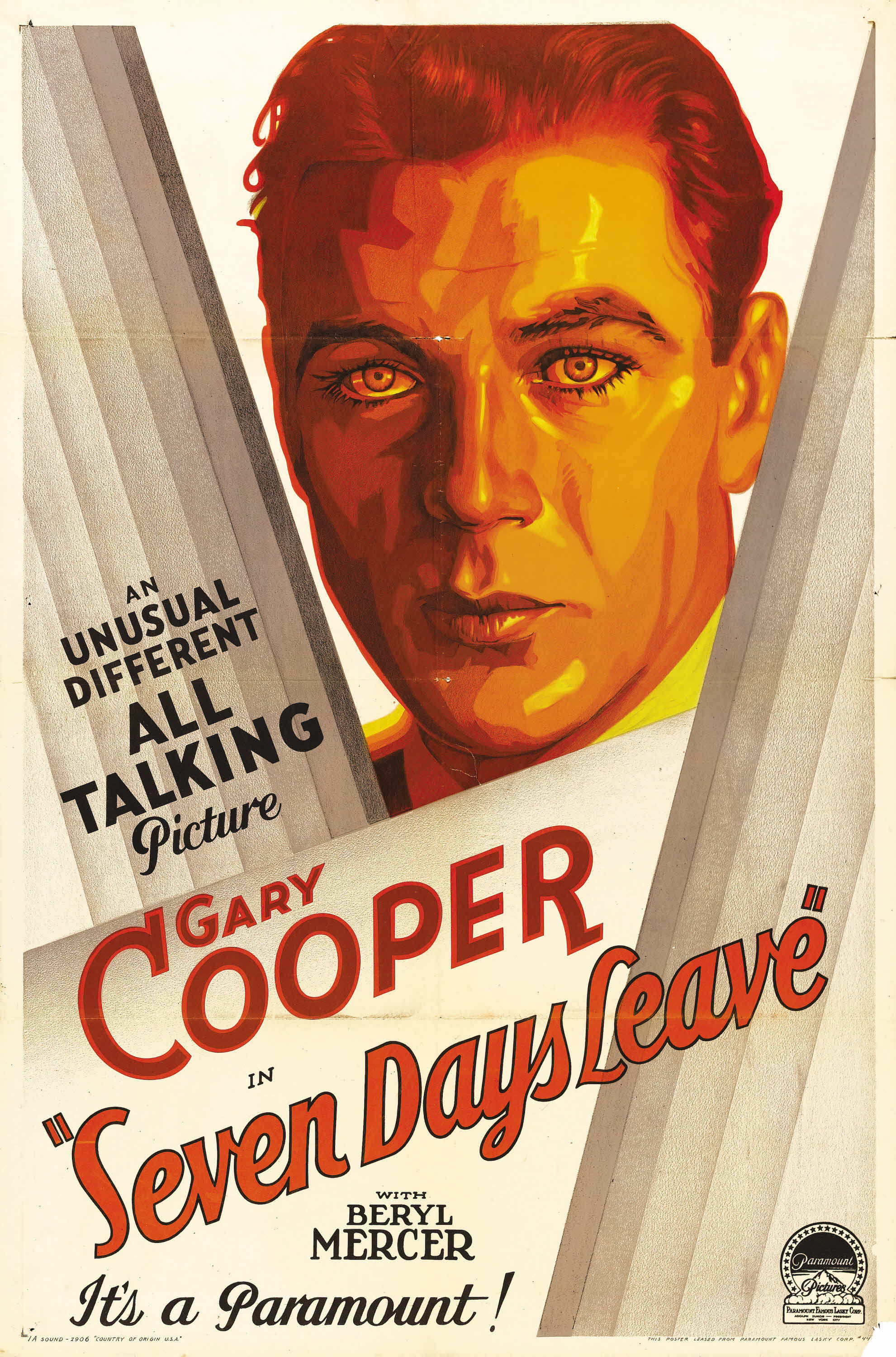 - Seven Day's Leave was actually Gary Cooper's first all talking film, but Adolph Zukor at Paramount decided to hold up the release of it until after The Virginian was on the big screen. Seven Days Leave is a screen adaption of one of James M. Barrie's plays, The Old Lady Shows Her Medals.19301 h 20 min