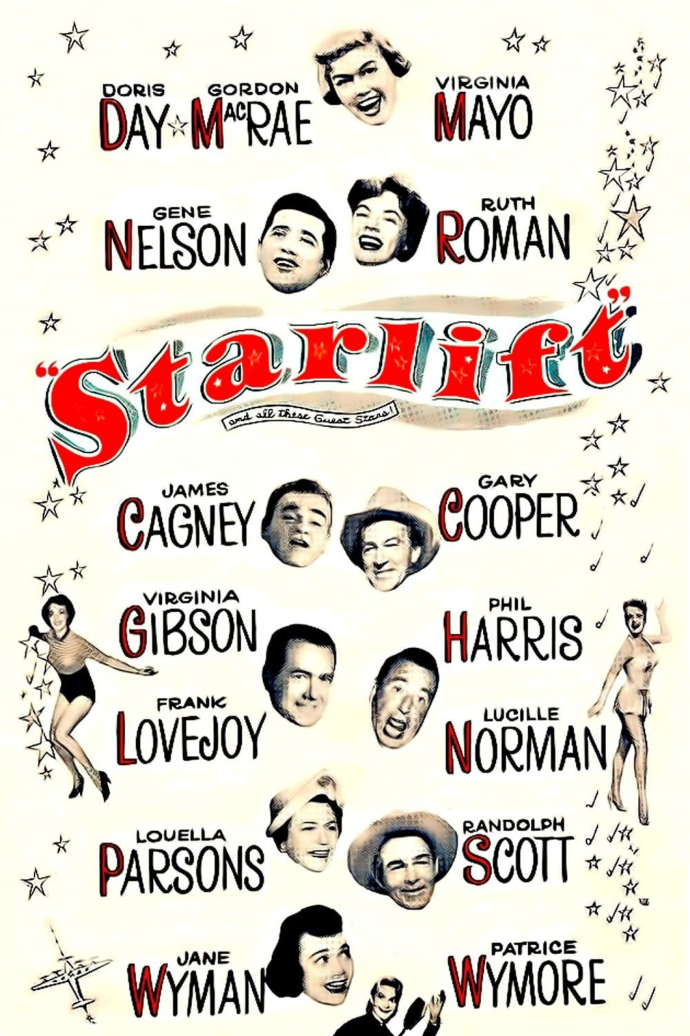 - Air Force fliers Rick Williams and Mike Nolan attempt to meet film star Nell Wayne, with whom Rick shares a hometown but not much else. Fellow film stars Doris Day and Ruth Roman mistakenly believe Rick to be very close to Nell and arrange for him to meet her. The pair begin to form a match, especially after Nell, Doris, and Ruth arrange for Hollywood stars to perform for G.I.s in transit to and from the Korean War, at Travis Air Base. But Nell thinks Rick is getting ready to ship out to the war, when in reality, he and Mike ferry troops part of the way then return to Travis Air Base with returning soldiers. Nell is furious with Rick for letting her believe he was headed to a war zone, especially because the press has made a huge story of their romance. Meantime, a new program, Operation Starlift, has been set in place by the Air Force and the Hollywood studios, whereby stars are flown to San Francisco to perform for the outbound and inbound troops19511 h 43 min