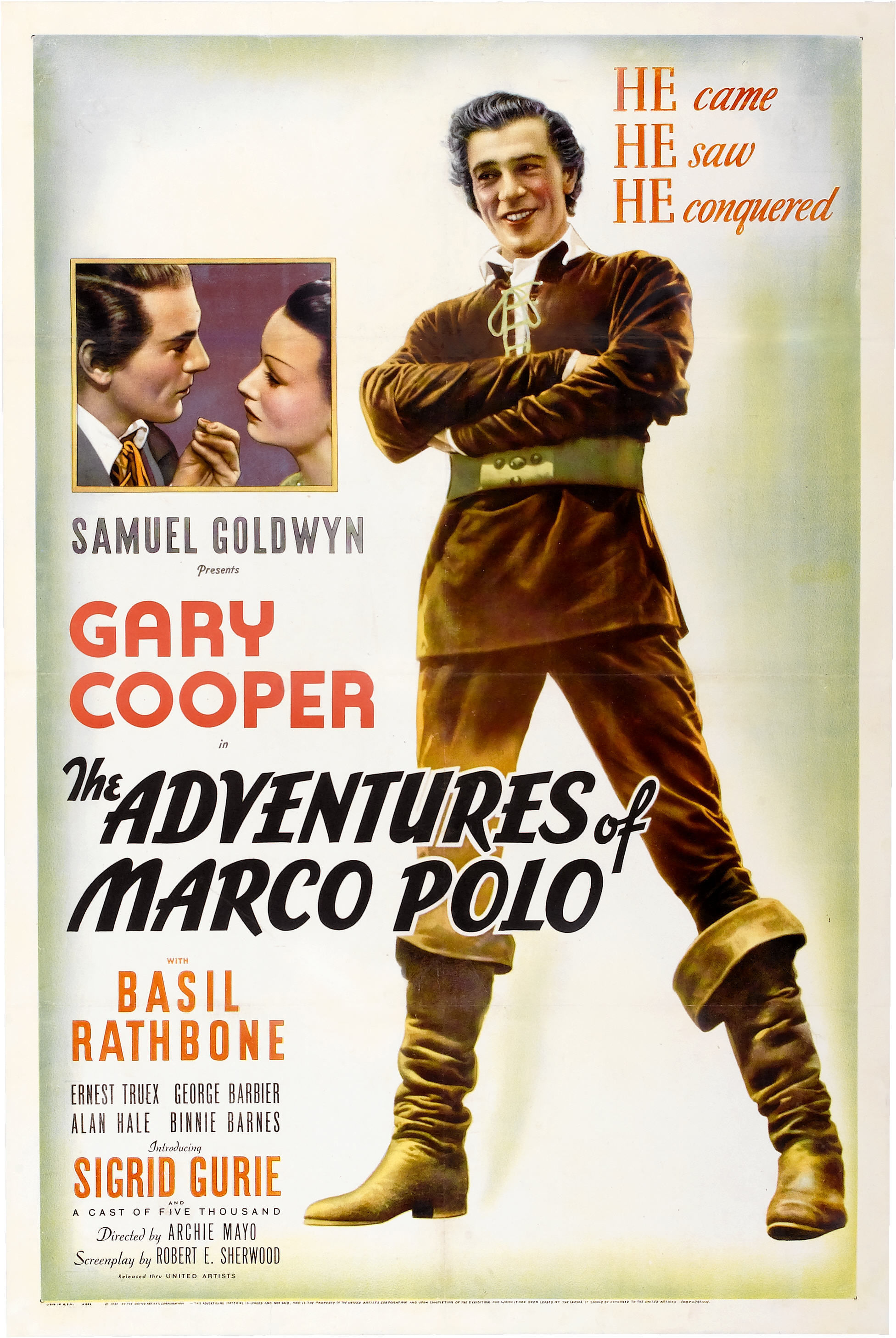- The Venetian traveler (Gary Cooper) meets Kublai Khan and foils a plotter (Basil Rathbone) with fireworks in medieval China.The Adventures of Marco Polo (1938) Directed by Archie Mayo. 104mins.Gary Cooper - Marco PoloAlso starring Basil Rathbone, Sigrid Gurie, Binnie Barnes, Alan Hale, H.B. Warner and Lana Turner.Gary Cooper's first big flop, the movie was expensive but failed to make a profit for the studio.17 year old Lana Turner complained that they shaved her eyebrows to try to make her look Chinese1938 1 h 44 min