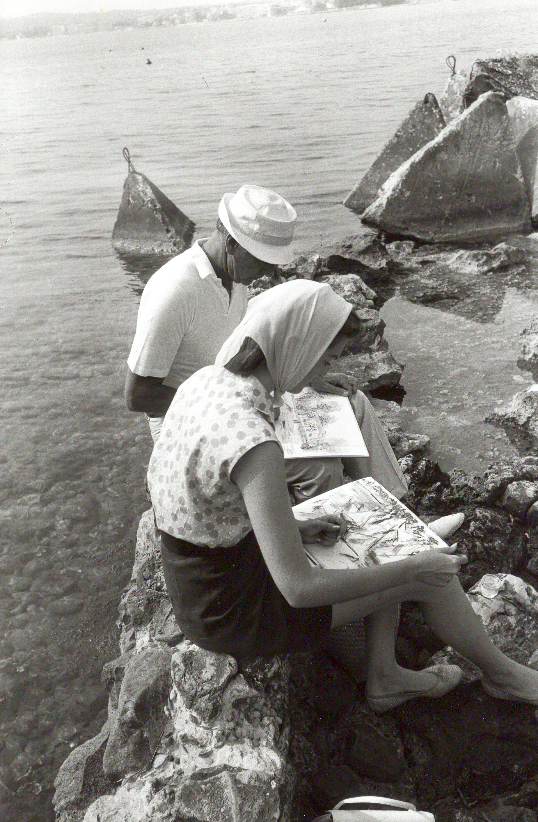 - Sketching with my father on the rocks near Antibes in the South of France. I loved when we were both able to sit together and draw.