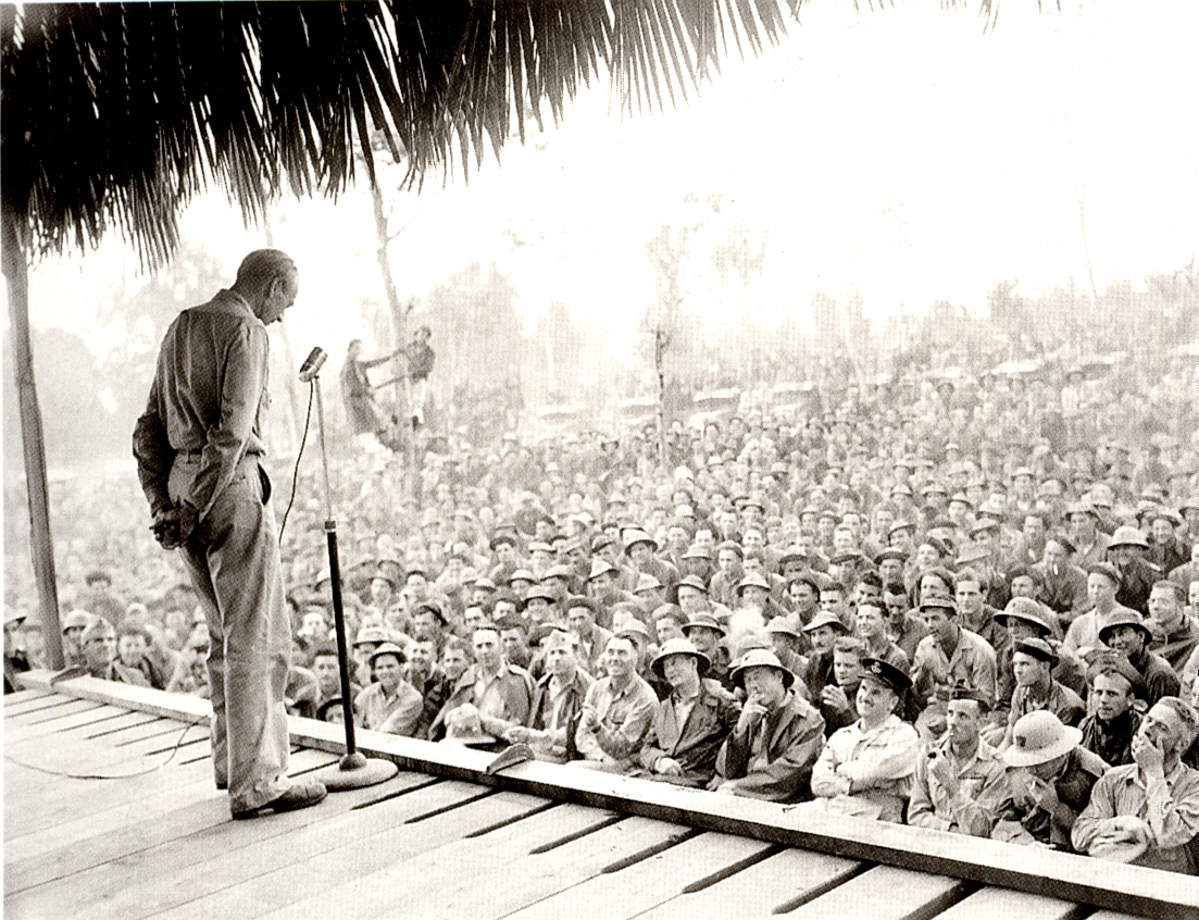 - Cooper speaking to the troops in the South Pacific during WW2. They all wanted him to recite the baseball great Lou Gerhig's famous farewell speech