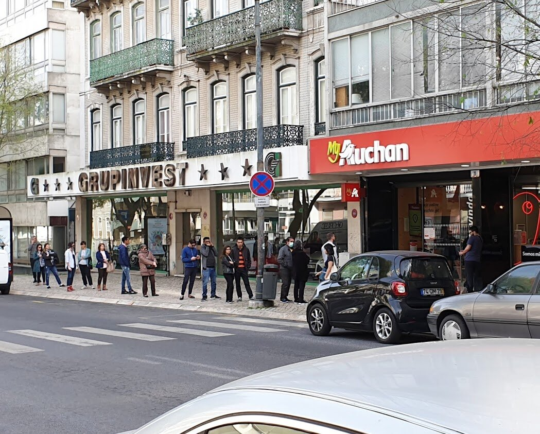 Long queues for grocery shopping have been happening everywhere, and are bound to stay like this for a long time (photo taken in Lisbon, March 18 2020)