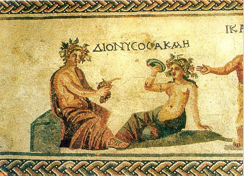 Hellenistic mosaics near the city of Paphos depict Dionysos, god of wine