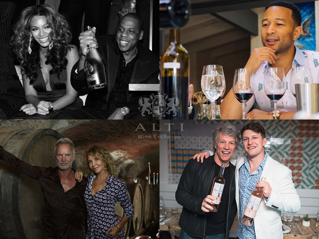 Top right to top left, clockwise: John Legend; Jon Bon Jovi (with son, entrepreneur Jesse Bongiovi); Sting (with wife, actress/film producer Trudie Styler); Jay-Z (with wife, superstar singer Beyoncé)