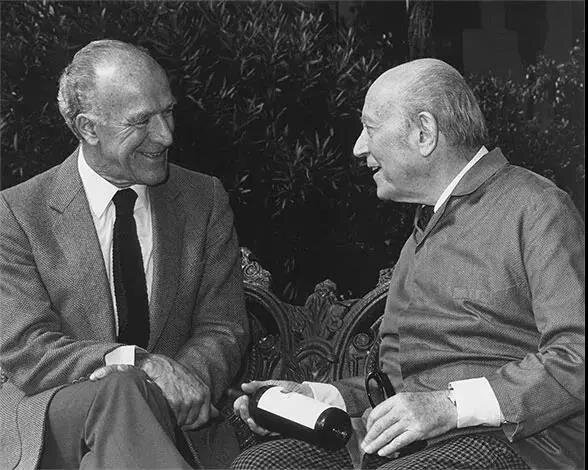 Robert Mondavi (left) and Baron Rothschild: two geniuses of winemaking made a unique joint venture