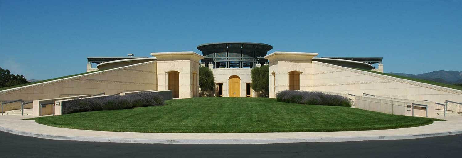 The entrance of the Opus One estate, in Oakville, CA (photo by Chuck Szmurlo)
