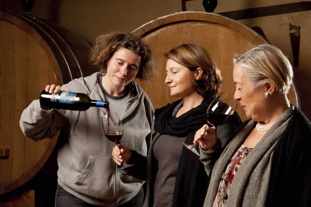 Donatella Cinelli Colombini (on the right) and staff tasting yet another wonderful vintage in Montalcino