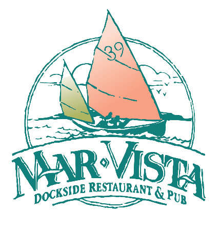 Mar Vista Dockside Restaurant and Pub's throwback sketched teal logo featuring a sailboat with a peach sail.