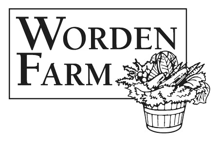 Worden Farm's logo features a serif font and a basket packed with fresh produce.