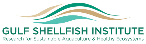 The Gulf Shellfish Institute's logo. They conduct research for sustainable Aquaculture and Healthy Ecosystems.