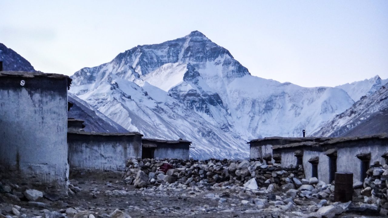 Mount Everest at sunset from Rongbuk Monastery in Tibet.