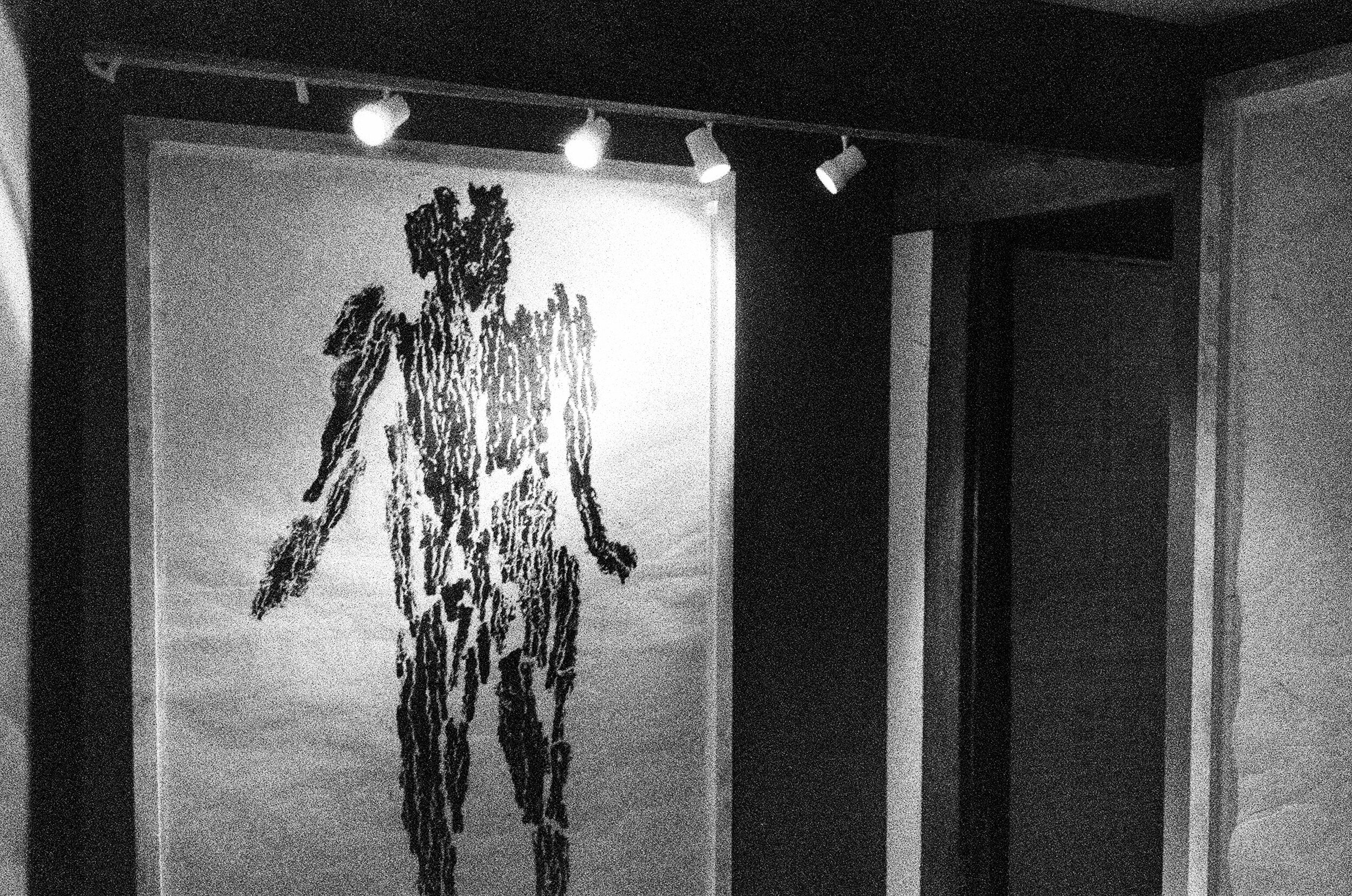 Resident Artist Michele Oka Doner - a print of man made using bark as a stamp.
