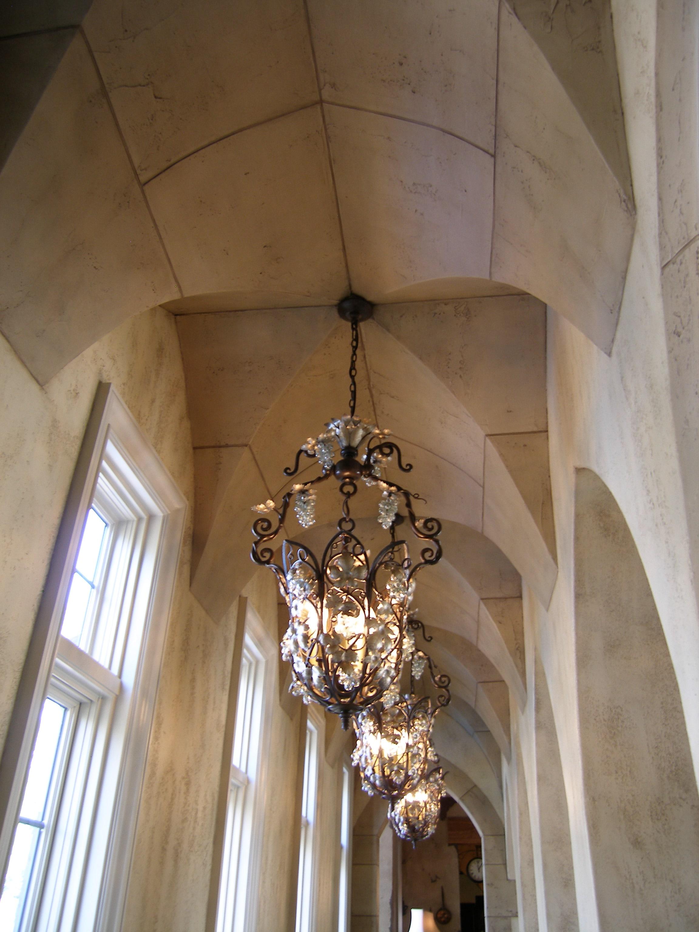 Gorgeous groin vault ceiling down the main floor hallway.