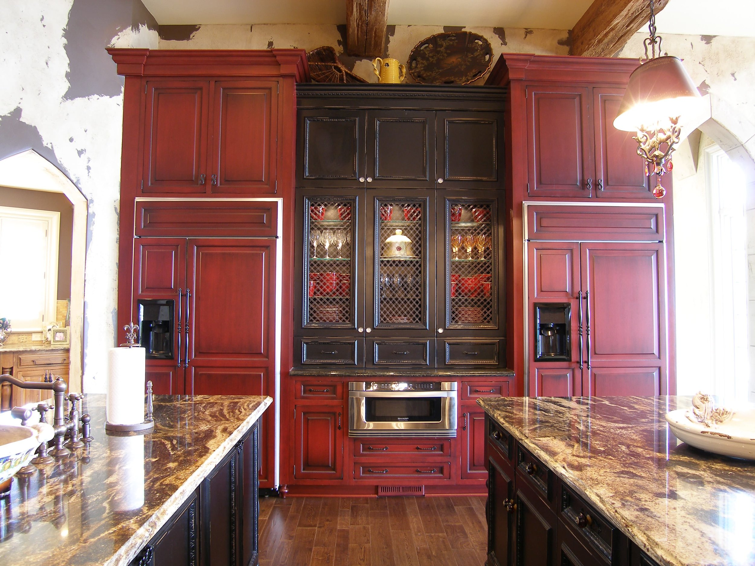 Custom cabinets in the kitchen. Panels on the dual refrigerators give a streamlined look.