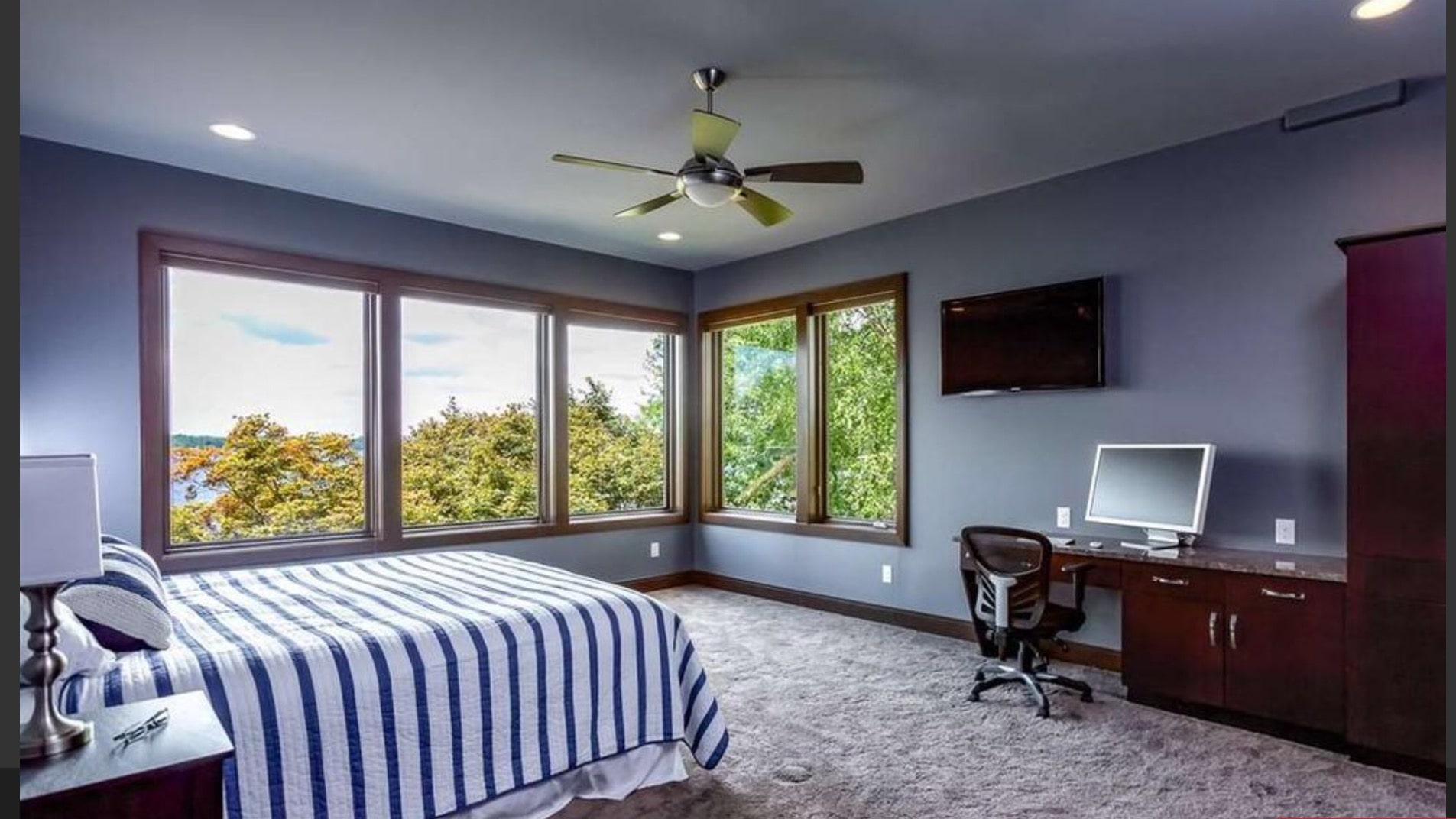 Guest bedroom with gorgeous view of the lake
