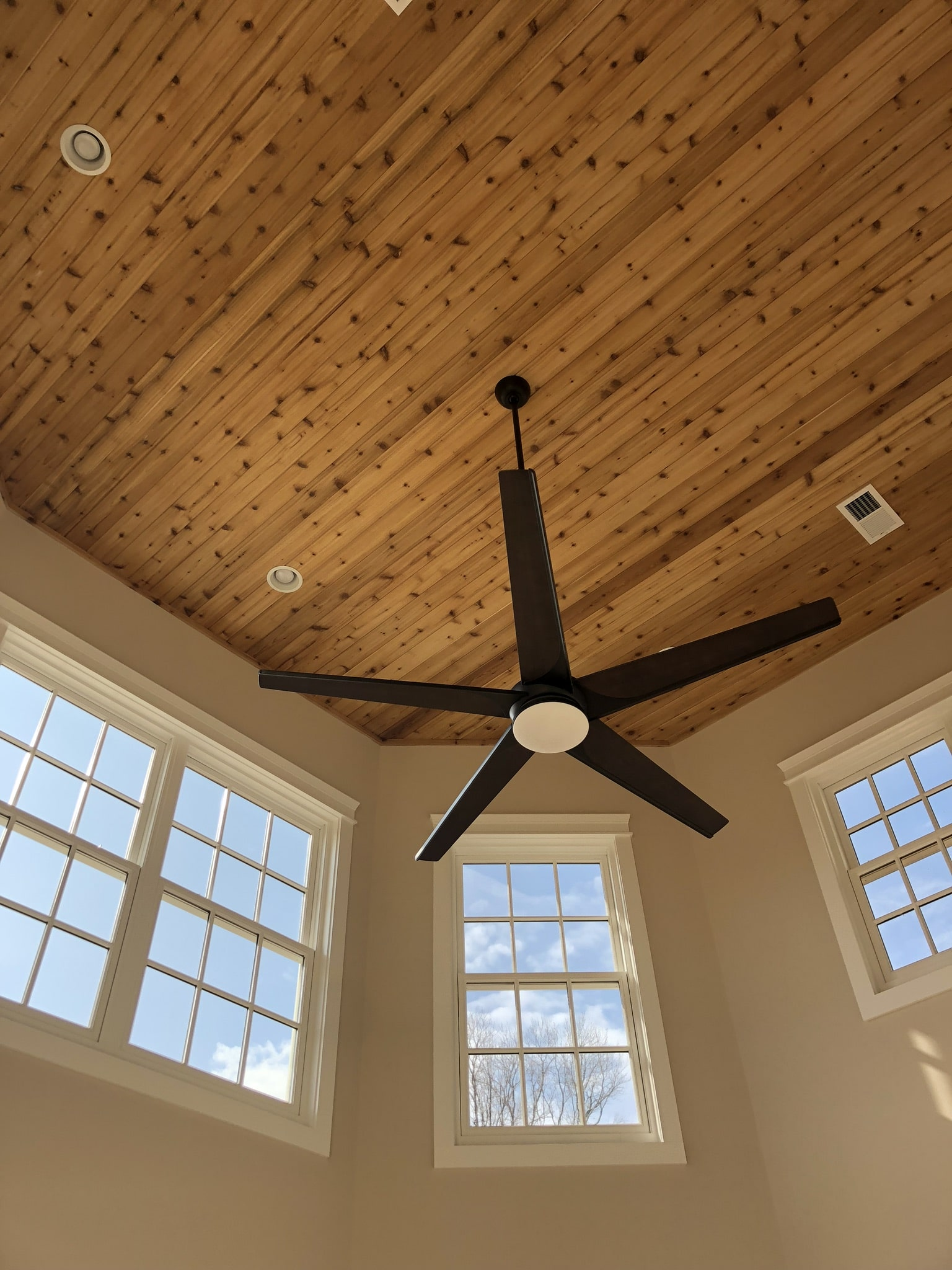 Two story plant room with tongue and groove cedar ceiling.