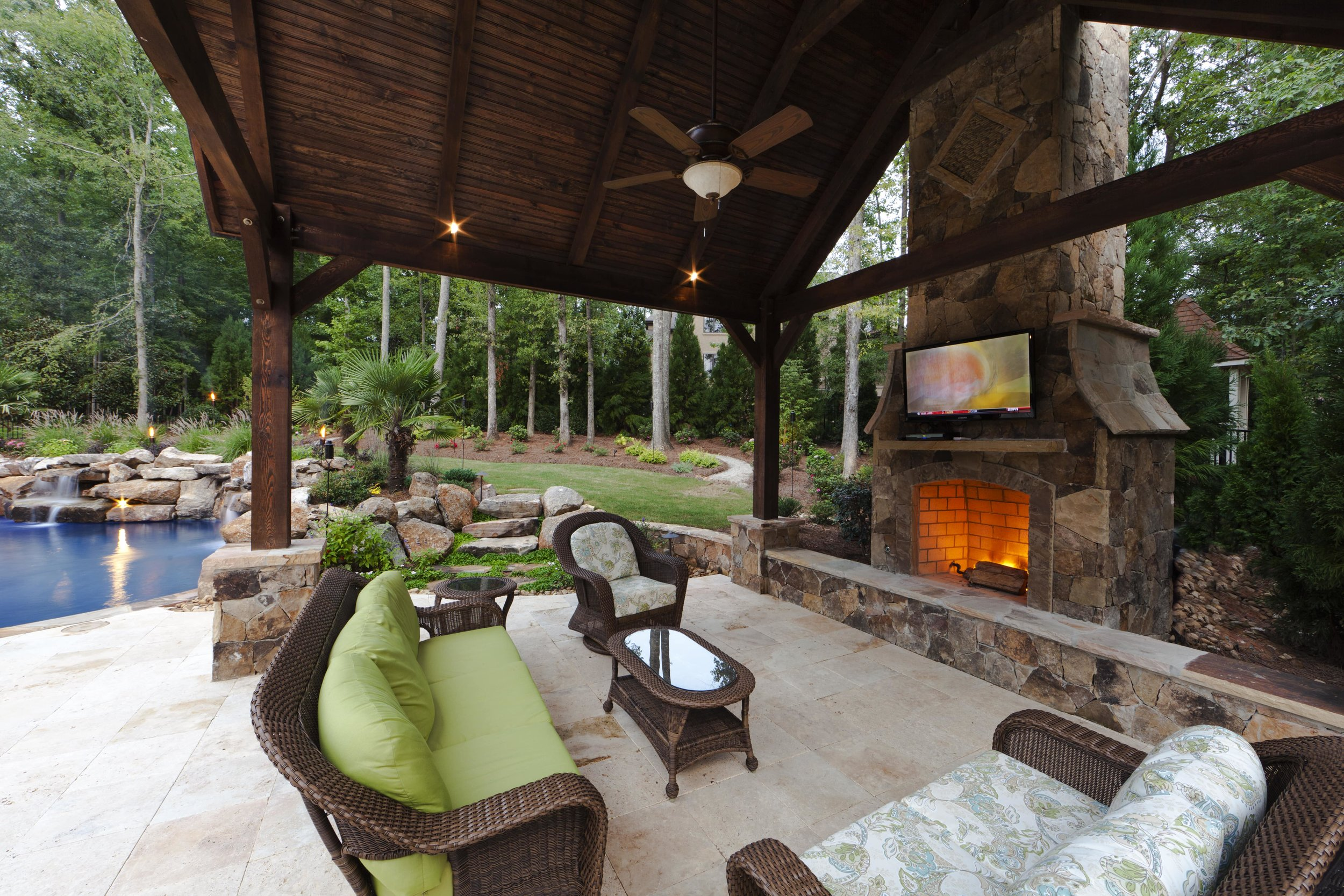 Rustic vaulted cabana that can be used most of the year with the wood burning fireplace.  A great place to cozy up to the fire and watch the game.