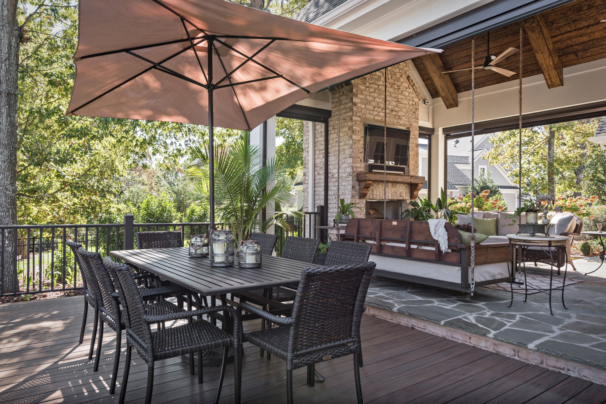 Just off the screen porch, you step down to a composite deck that is great for dining as well as grilling.