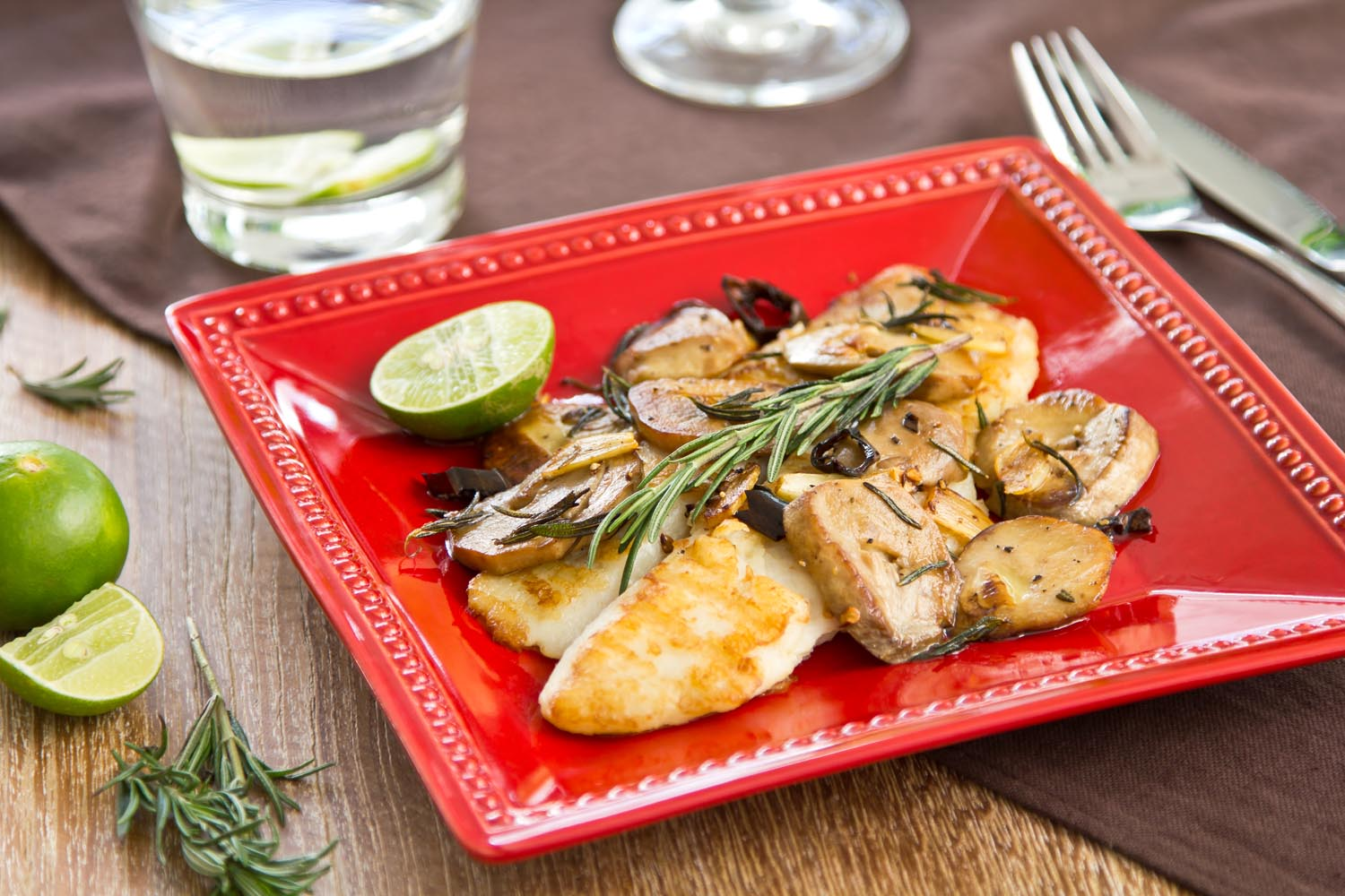 Grilled Dory with Sauteed Mushrooms