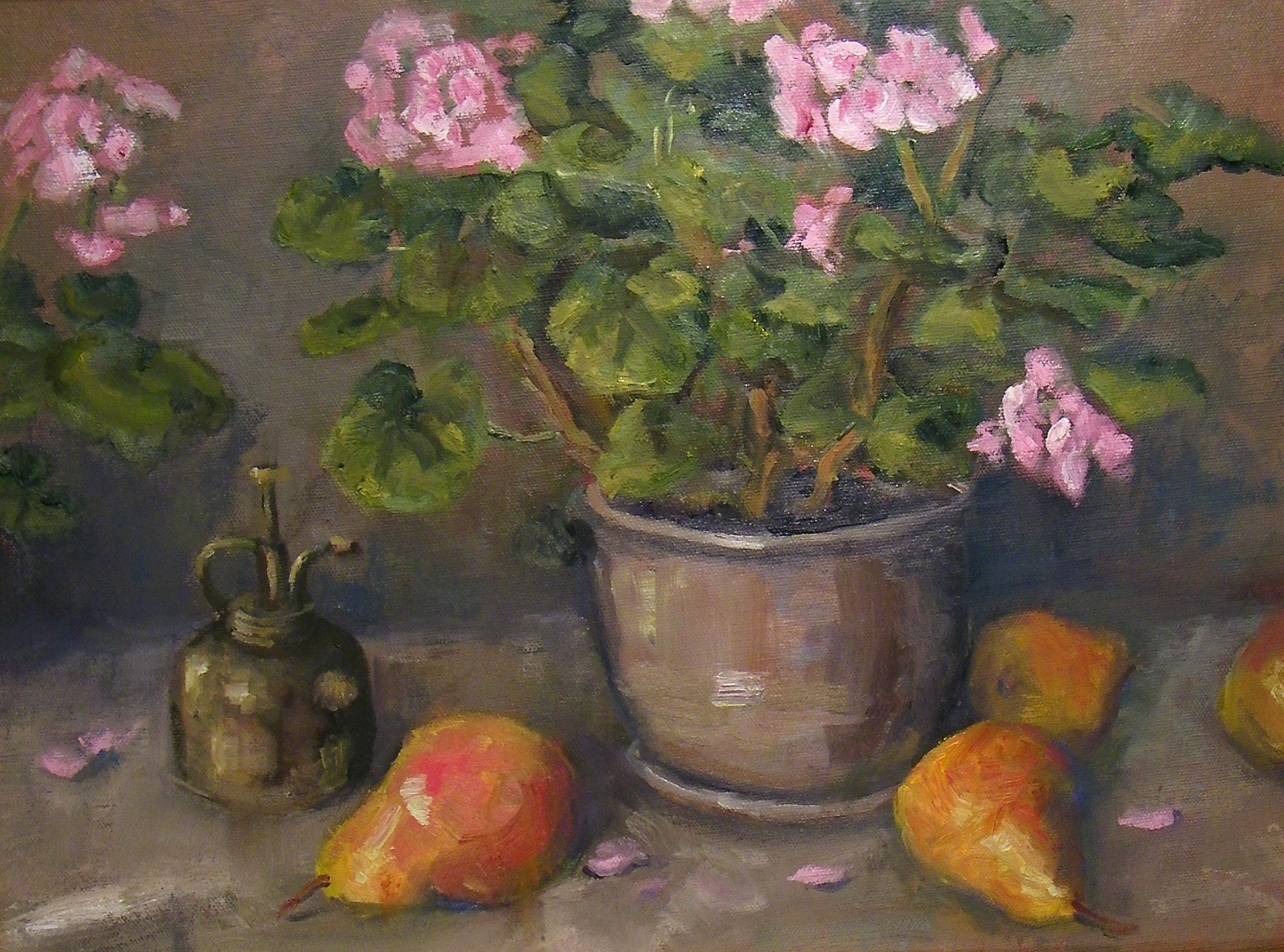 Geraniums and Pears