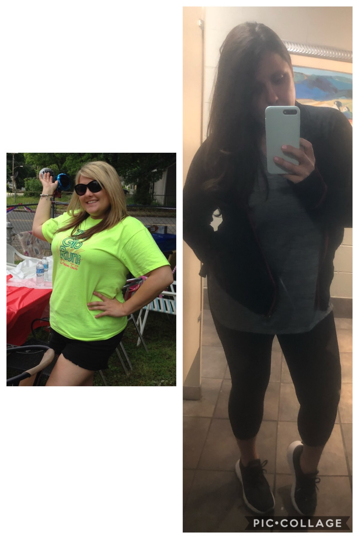 Before & After - Left: the year Kelly started with Apex Wellness.Right: April 2019.
