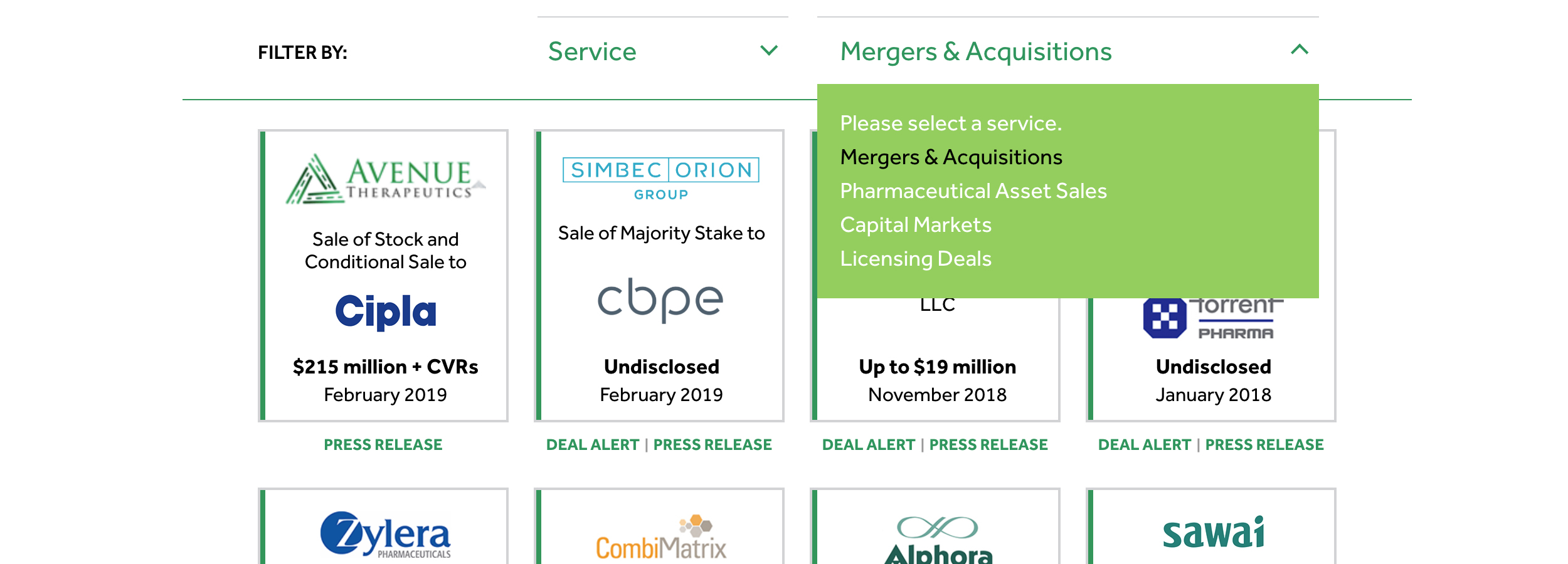 Comprehensive Transactions Section