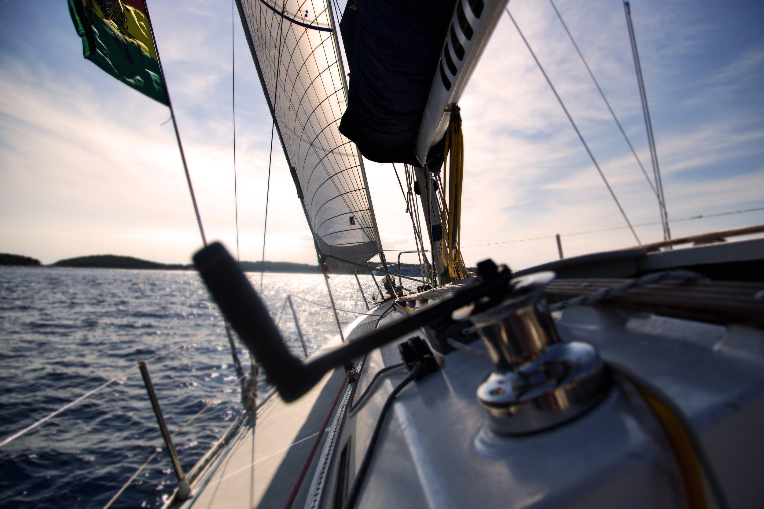 yacht under sail - starboard tack