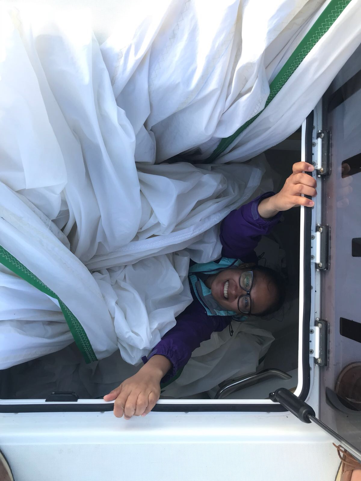 Sheila getting stuck in during the spinnaker drop