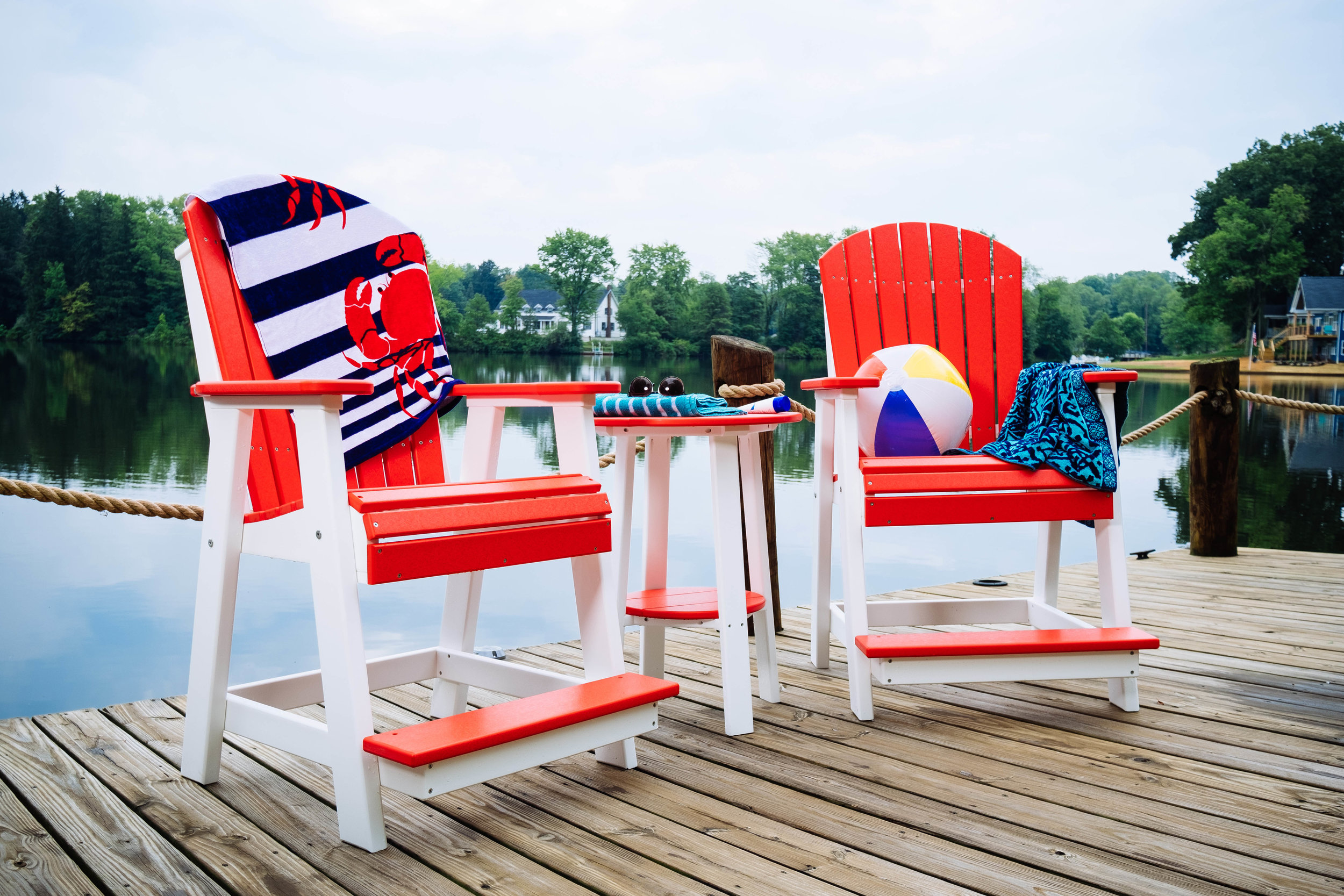 Poly Adirondack Balcony Chairs and Deluxe End Table 28_ (Red _ White).jpg