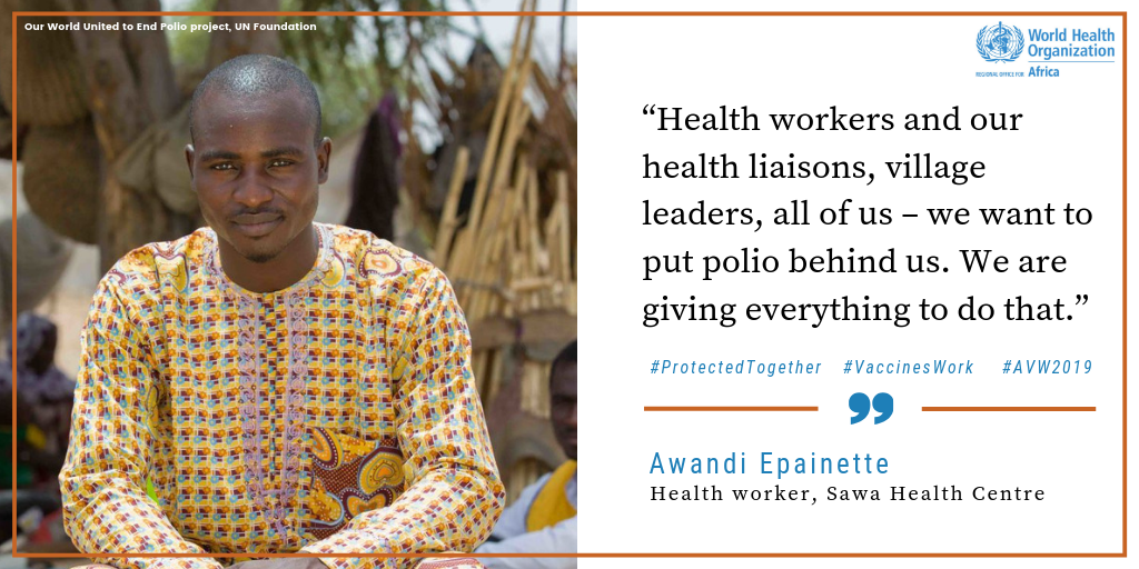 Nurse, Awandi Epainette   #VaccineHeroes like Awandi Epainette, a Health Worker in Chad, are doing everything in their power to #EndPolio. Watch his story: http://bit.ly/2TzePxe #AVW2019 #VaccinesWork @EndPolioNow @unfoundation