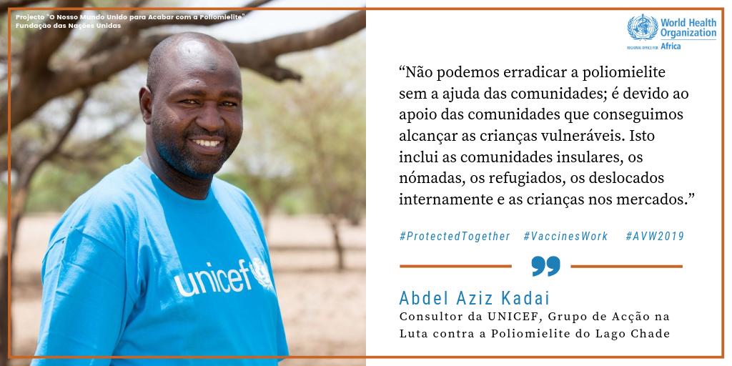 Consultor da UNICEF, Abdel Aziz Kadal   #VaccineHeroes (heróis das vacinas) como Abdel Aziz Kadal estão a trabalhar para ajudar a #EndPolio (acabar com a poliomielite) nas áreas remotas da Bacia do Lago Chade. Vejam a sua história: http://bit.ly/2TzePxe! @EndPolioNow @unfoundation #AVW2019 #VaccinesWork