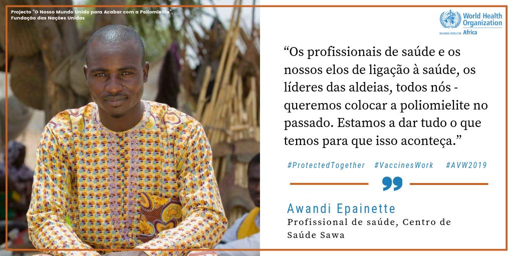 Enfermeiro, Awandi Epainette   #VaccineHeroes (heróis das vacinas) como Awandi Epainette, um profissional de saúde no Chade, estão a fazer tudo o que está ao seu alcance para #EndPolio (acabar com a poliomielite). Vejam a sua história: http://bit.ly/2TzePxe #AVW2019 #VaccinesWork @EndPolioNow @unfoundation