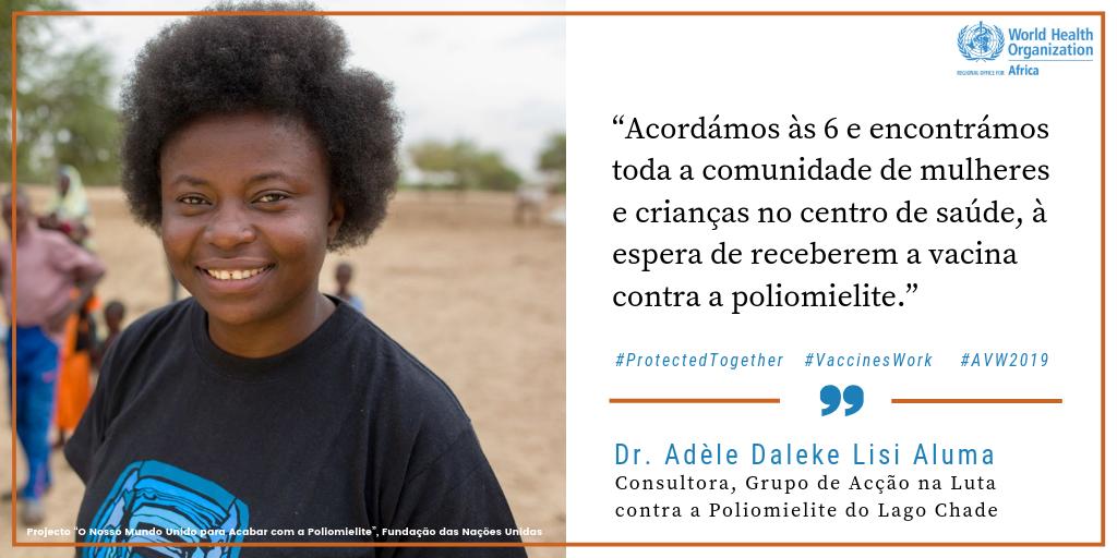 Consultora com o Grupo de Acção na Luta contra a Poliomielite, a Dr.ª Adèle Daleke Lisi Aluma   Na Bacia do Lago Chade, com muitas populações nómadas e refugiadas, é difícil levar a vacina contra a poliomielite a todas as pessoas. Graças à Dr.ª Aluma e a outros #VaccineHeroes (heróis das vacinas), uma África livre da poliomielite está mais próxima que nunca. Vejam agora: http://bit.ly/2YexPR5 #AVW2019
