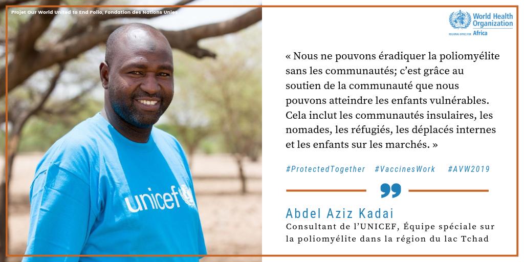 Consultant de L'UNICEF, Abdel Aziz Kadai   Des héros de la vaccination comme Abdel Aziz Kadal travaillent pour contribuer à #EradiquerLaPolio dans les zones reculées du bassin du lac Tchad. Regardez son histoire :  http://bit.ly/2TzePxe  !   @ EradiquerLaPolioMaintenant    @ unfoundation  # AVW2019 #LesVaccinsÇaMarche