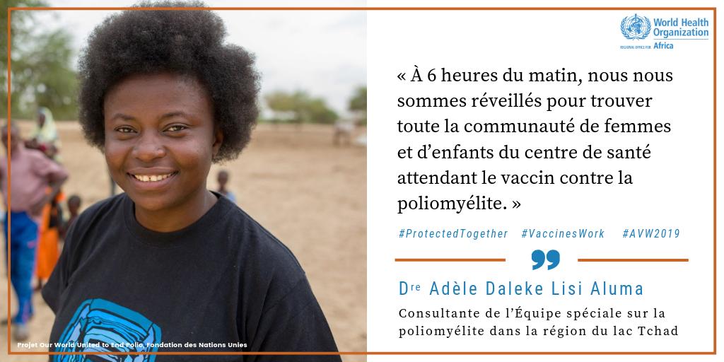 Consultante auprès de l'Équipe spéciale de lutte contre la poliomyélite dans la région du lac Tchad, Dre Adèle Daleke Lisi Aluma   Dans le bassin du lac Tchad, avec de nombreuses populations nomades et réfugiées, il est difficile d'atteindre tout le monde par le vaccin contre la poliomyélite. Grâce à la Dre Aluma et à d'autres #HérosDeLaVaccination, il est plus que jamais possible de réaliser l'objectif d'une Afrique sans poliomyélite. Regardez maintenant :  http://bit.ly/2YexPR5  #AVW2019