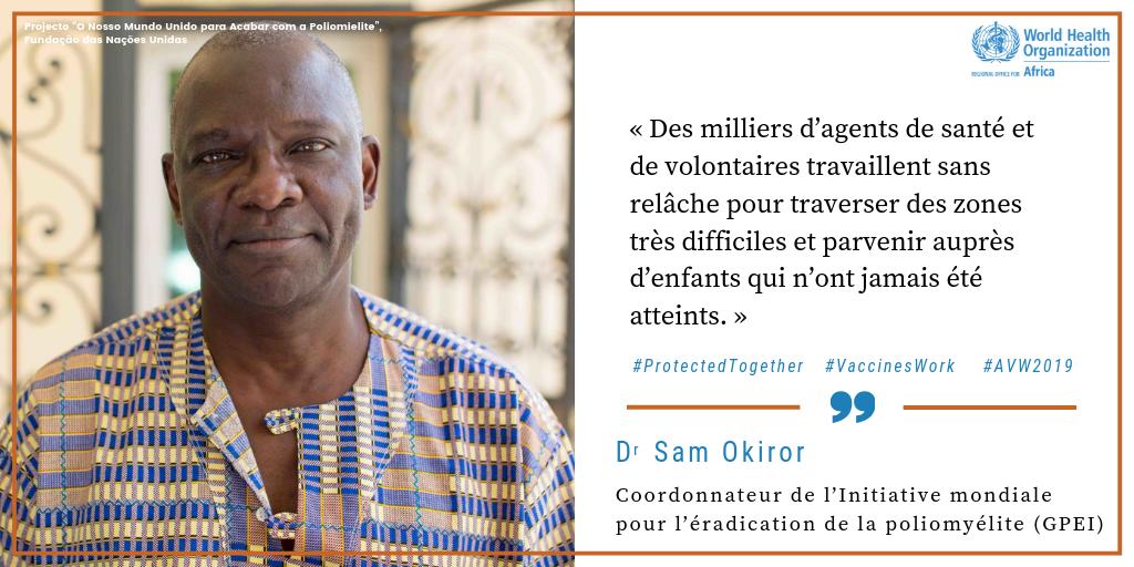 Coordonnateur des questions de partenariat de l'Initiative mondiale pour l'éradication de la poliomyélite (IMEP), Dr Sam Okiror   Le Dr Sam Okiror et son équipe de #HérosDeLaVaccination ont administré à plus de 53 200 enfants dans près de 500 localités du bassin du lac Tchad des vaccins antipoliomyélitiques qui peuvent sauver la vie de ces enfants. Regardez leur histoire ici  http://bit.ly/2YexPR5  #AVW2019