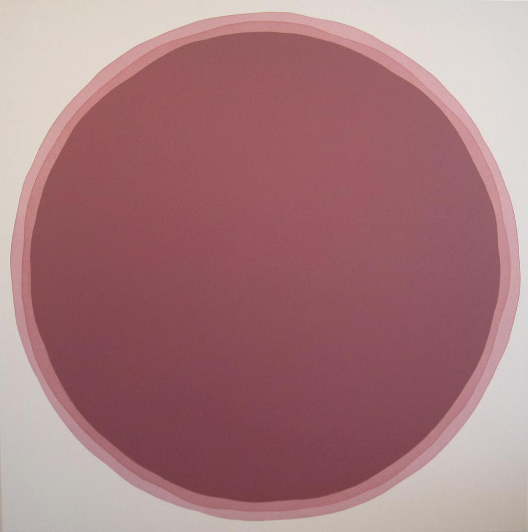 "Dawn Arrowsmith, Plum Sienna, acrylic on canvas, 56"" x 56"""