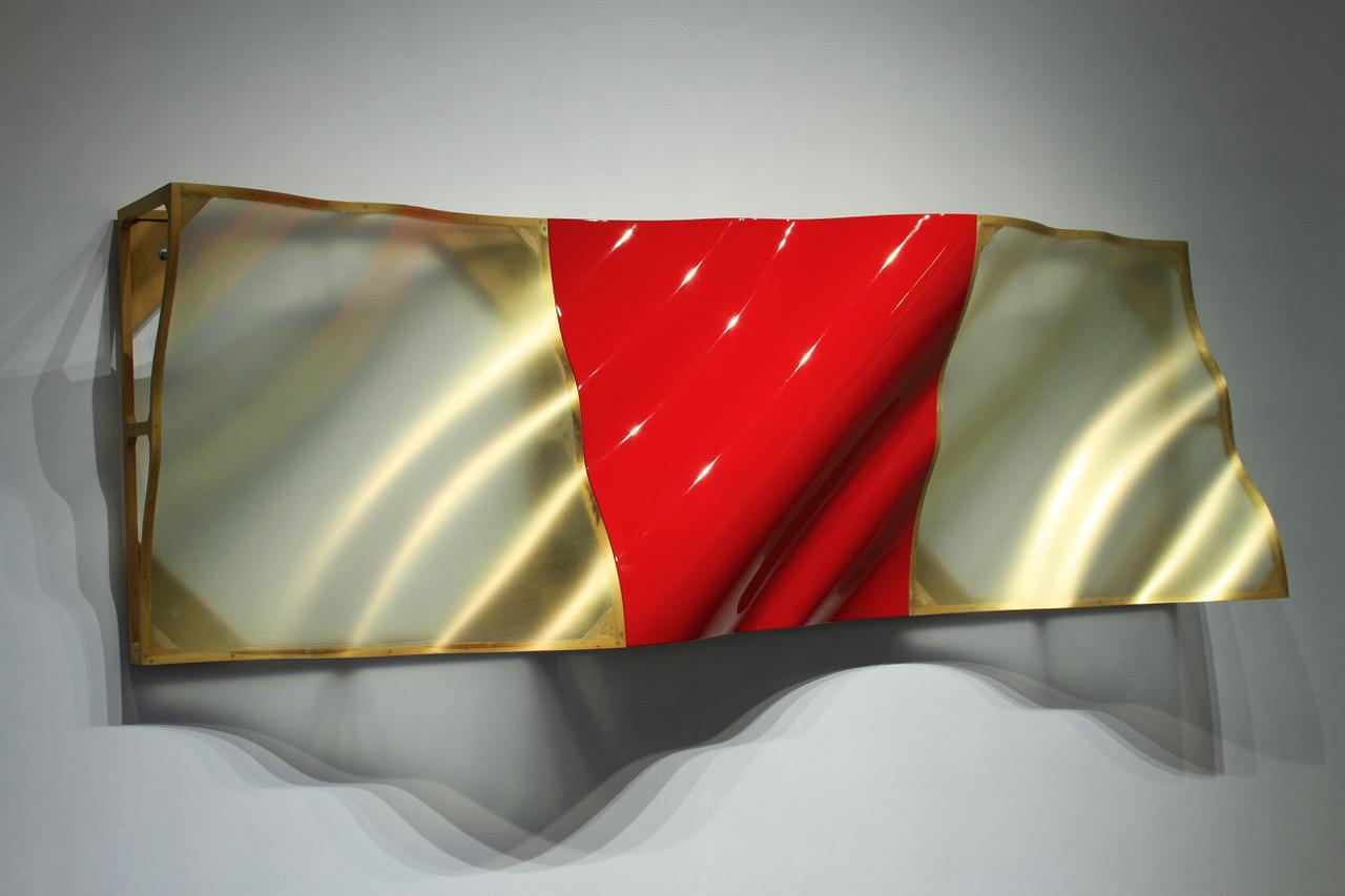 "Eric Johnson, Untitled Triptych, 1992, composite, wood, enamel, 40"" x 120"" x 16"""