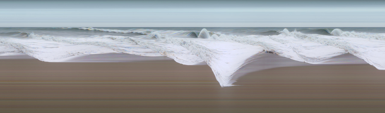 "Jay Mark Johnson,  STORM AT SEA #4, Los Angeles  2010, Durst Lambda print, film, aluminum, 40"" x 136"" - edition of 3, $;  Archival pigment, paper, aluminum,  25"" x 73"" - edition of 9"