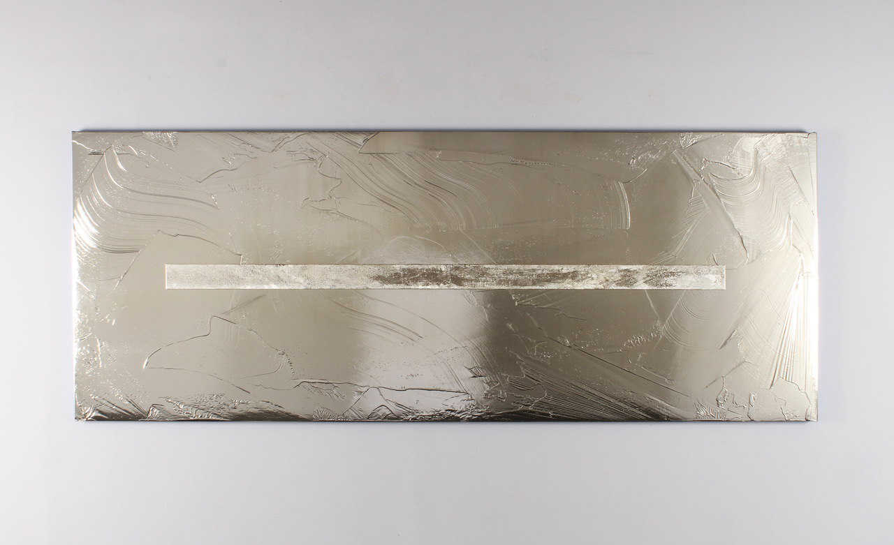 "Jimi Gleason, Untitled, 2018, silver nitrate and acrylic on canvas, 48"" x 126"""