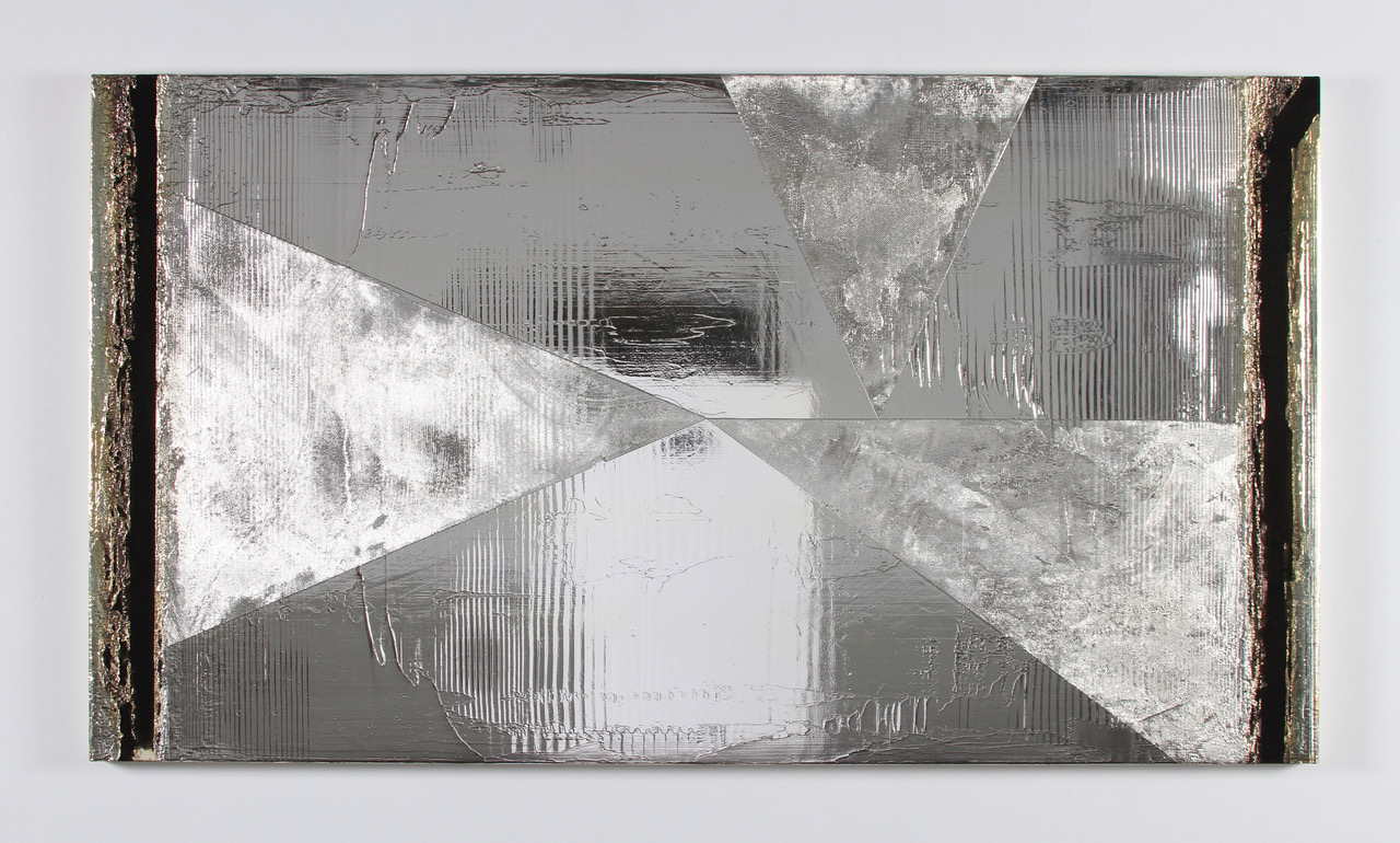 "Gleason, Shooting Star, 2016, silver deposit and acrylic on canvas, 48"" x 86"""