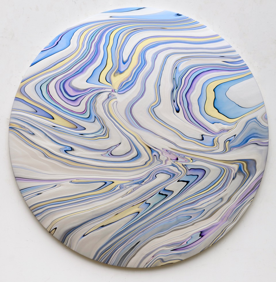 Andy Moses, Geodesy 1502, 2018, acrylic on canvas over circular wood panel, 72 inch diameter